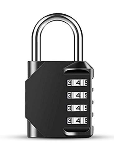 Wachtwoordslot, 4-cijferige wachtwoordhangslot, resetbaar wachtwoordslot, schoolpersoneel, sportschool, kluisjes, buiten, hek, gesp en opslag, metaal en verzinkt staal, zwart, 1 stuk.