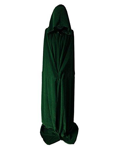 Outgoings Unisex Halloween Mantel SAMT Kapuzen Roben Capes Ganzkörperansicht Cosplay Bekleidung Hexe Kostüm