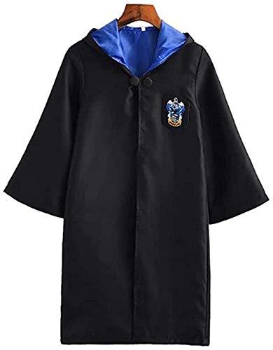 Disfraz de Harry Potter de Ravenclaw, disfraz de Harry Potter, disfraz de Halloween para adultos, túnica mágica con capucha, disfraz de mago de Navidad, ropa de fiesta (145-155 cm)