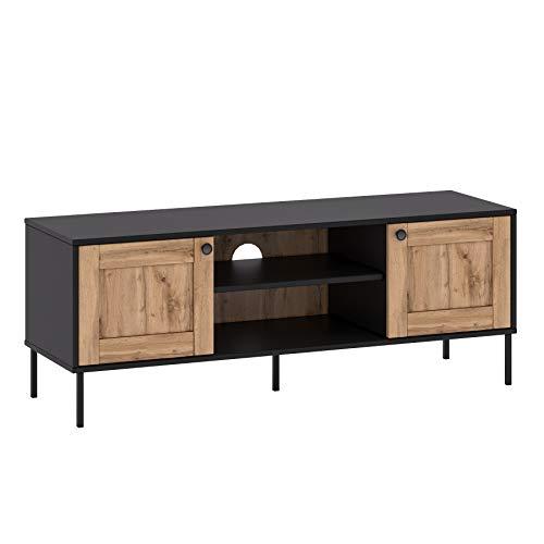 GLmeble Lowboard Fernsehtisch Sideboard Fernsehschrank TV-Board Schrank Loft Stil TV-Ständer für Wohnzimmer schwarz Eiche