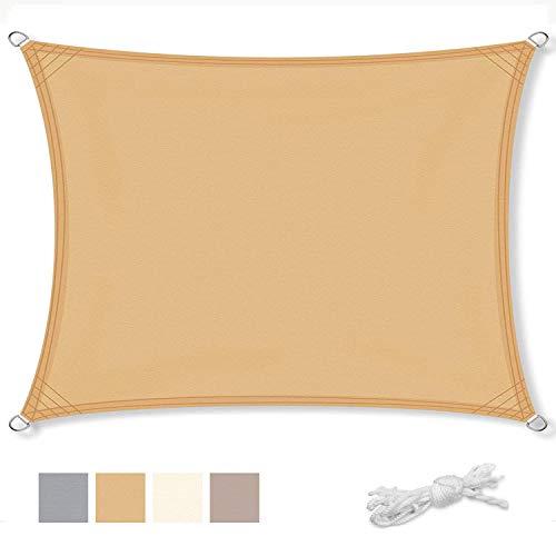 Geling Voile d'ombrage rectangulaire Une Protection des Rayons UV, résistant et Respirant, en Polyester résistant à la déchirure, résistant aux intempéries,Sand,□5×5m