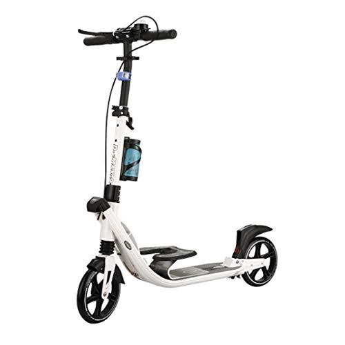 Patinetes Scooter con Plataforma para niños, Scooters Plegables de Color Blanco con Freno de Mano, para Mujeres Que viajan Diariamente, 100 kg, no eléctrico
