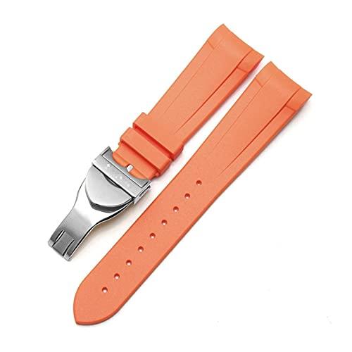 YYCHER Correa para reloj Tudor Black Bay GMT de 22 mm de caucho natural de silione, con hebilla curvada especial, hebilla plegable, color negro, azul y rojo