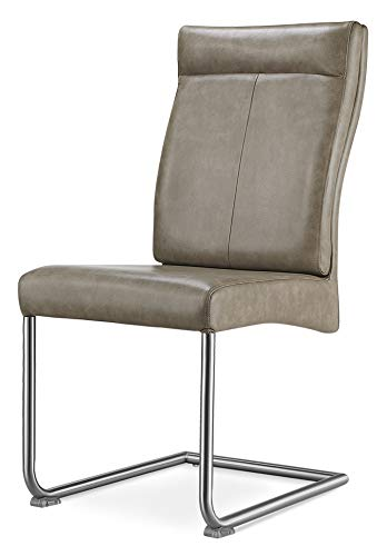 Field Furnishings Harper Special PU Brown Chairs with Brushed Stainless...