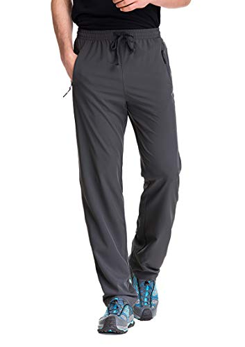 TRAILSIDE SUPPLY CO. Mens Workout Athletic Pants for Sports Gym Travel - Stretchy,Breathable, Charcoal, 3XL