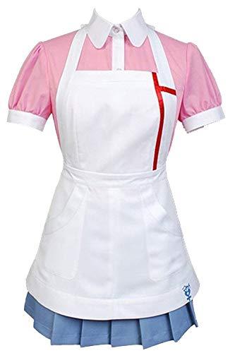 tianxinxishop Mikan Tsumiki Kostüm Halloween Anime Game Cosplay Kurzarm Krankenschwester Uniform mit Schürze komplettes Set Gr. Weiblich L, Rose