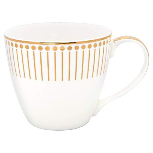 GreenGate Becher Gate Noir Dawn Gold Weiß Porzellan Henkel Kaffeebecher 300 ml