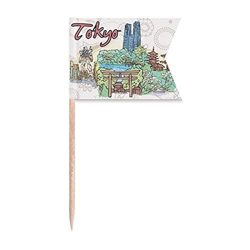 Handbemalte Flaggen für Zahnstocher, Stadt, Japan, Hof, Tokio, Markierung für Party, Kuchen, Lebensmittel, Käseplatte