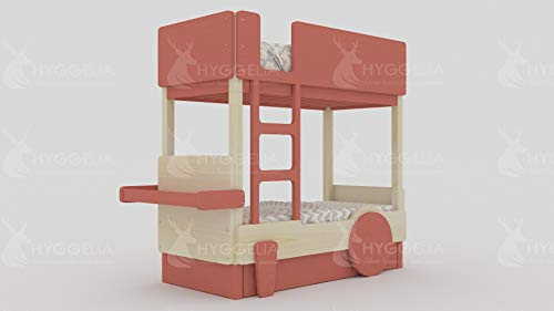Hyggelia Etagenbett aus Holz mit einem zweiten Bett Erde 2 für Kinder, für Jugendliche, MDF-Zubehör, Möbel für das Schlafzimmer (193 x 203 cm (King Size), Gemalt (Farbe wählen))