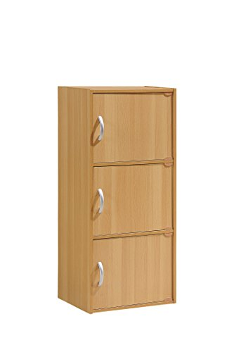 HODEDAH IMPORT 3-Shelf Bookcase Cabinet, Beech