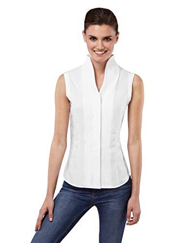 Vincenzo Boretti Damen Bluse mit Kelchkragen leicht tailliert 100% Baumwolle bügelleicht Kurzarm ärmellos Hemdbluse mit Stehkragen elegant festlich auch für Business weiß 38