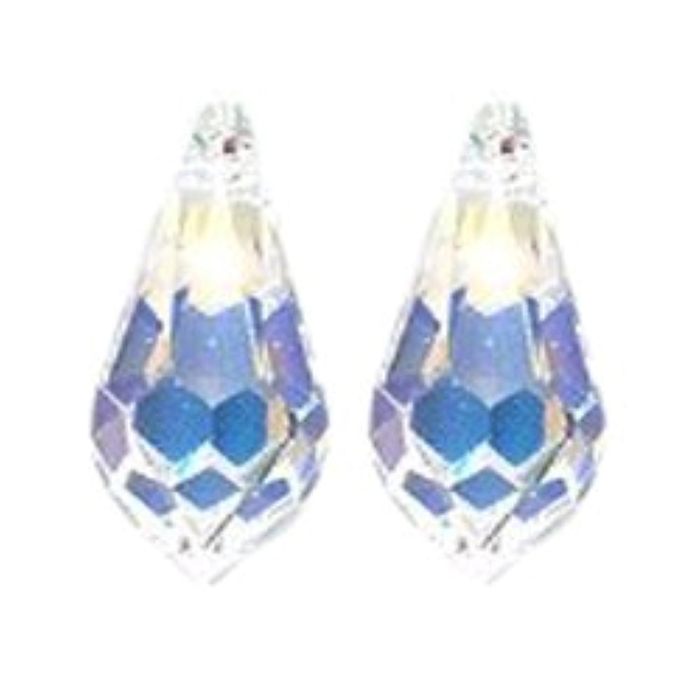 Swarovski 6000 Top Hole Tear Drop Beads, Aurora Borealis, Crystal, 7.5 by 15mm, 4-Pack