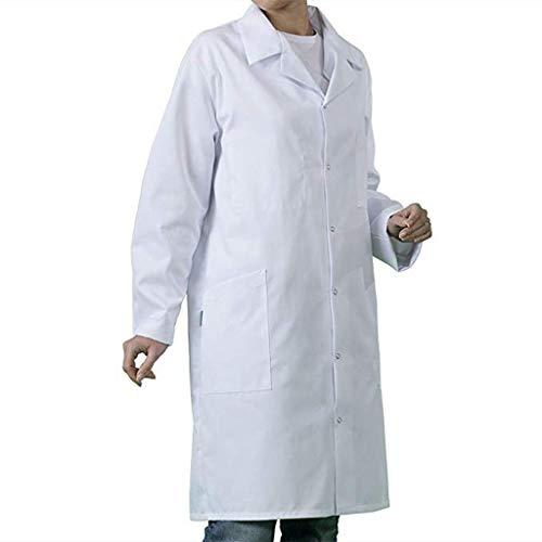 Fannyfuny Abrigo Hombre Mujer Bata de Laboratorio Médico Abrigo Blanco Adecuado para Estudiantes Unisex Laboratorio Enfermera Sanitaria de Trabajo de Ciencia Enfermera Cosplay