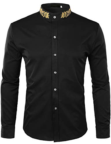 ZEROYAA Mens Hipster Gold Embroidery Mandarin Collar Slim Fit Long Sleeve Casual Dress Shirts Z52 Black Large