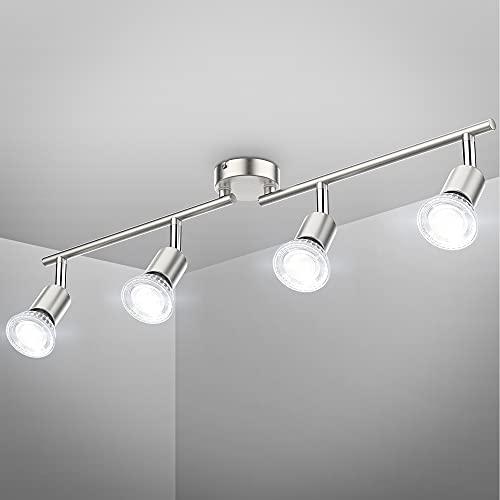B.K.Licht I schwenkbare LED Deckenleuchte I 4-flammiger Deckenspot I inkl. 4x 5 W GU10 Leuchtmittel I neutralweiße Lichtfarbe I 4x 400 lm Deckenlampe I Wohnzimmerlampe I Länge: 60,5 cm