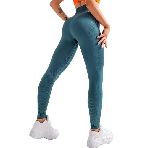 Pantalones de Yoga sin Costuras de Cintura Alta para Mujer, Mallas de Fitness Anti-Sentadillas, súper Estiramiento, Abdomen, Caderas, Pantalones para Correr B M