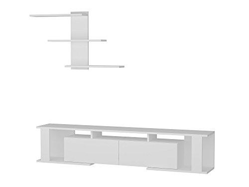 Alphamoebel 3597 Game Wohnwand TV Board Lowboard Fernsehtisch Fernsehschrank Sideboard Fernseh Hängeschrank Tisch für Wohnzimmer, Holz, Weiß, mit Regal, 180 x 29,6 x 36,8 cm