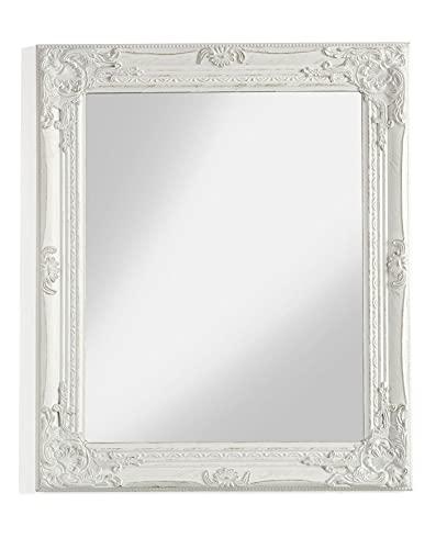armadio camera da letto shabby chic Specchio da parete con cornice rettangolare in legno bianco squadrato misure 62x4x72 cm