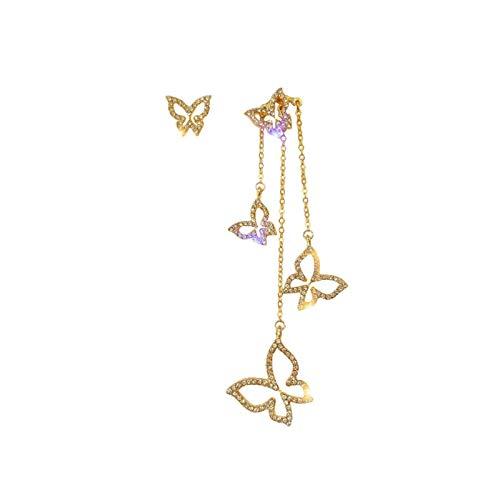 QIN Moda de Oro y Color Plata Mariposa Amor, Salsa, Pendientes Largos para Mujeres, Simple O