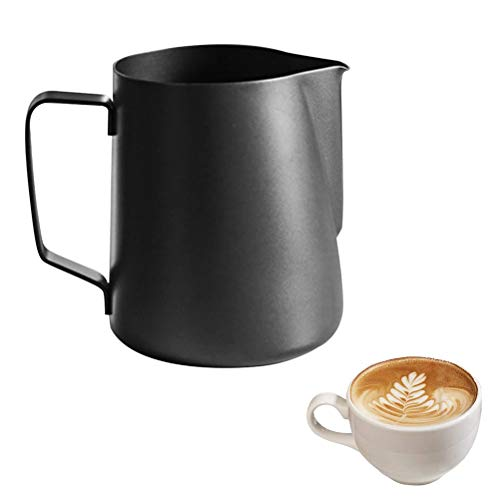 buycheapDG(JP) ミルクジャグ 耐熱 350mL メジャーカップ 本体304厚のステンレス鋼 ラテ、 ステンレススチール泡立て投手水差し蒸し投手用コーヒー、泡立てミルク ベーキング 電子レンジ対応 把手付 キッチン