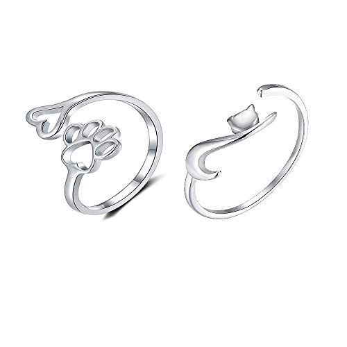 2 Pcs Lovely Puppy Dog Pet Paw Cat Tail Open Rings Set Women Dainty Animal Claw Love Heart Adjustable Jewelry Gold Silver Rosegold Plated Silver