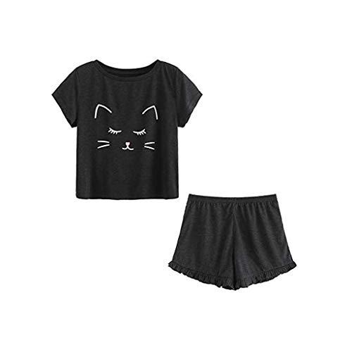 Proumy Conjunto de Pijama Negra Mujer Verano Básica Estampado de Gatos Camiseta con Calzoncillos Blusa Talla Grande Camisa Transpirable Dos Piezas de Batas Largas Ropa de Dormir Cómoda Manga Corta