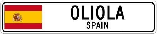 """YYone OLIOLA, Spain - Spain Flag City Sign - 4""""x18"""" Sign"""
