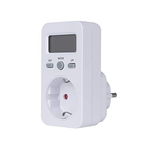 Blusea LCD-display stroomverbruik stroommeter sokkel energie vermogen KWH verbruik kosten analysator monitor outlet AC 230V EU plug