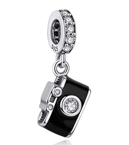EvesCity Bolenvi - Abalorio de plata de ley 925 con diseño de cámara cristalizada para pulseras y collares