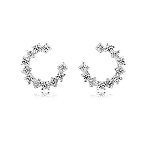 CERSLIMO Pendientes de aro de plata 925 con circonita 5A, regalos para mujeres y niñas