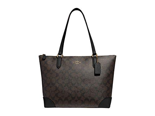 COACH Signature PVC Zip Tote Brown/Black One Size