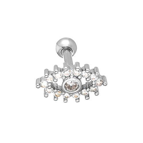 Crystal Devil Eye Ear Stud Pendientes de cartílago Tragus Helix Piercing 16G Titanio Mujeres Hombres Body Piercing Joyería (Metal Color : Rhodium Plated)