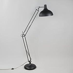 QAZQA Retro/Vintage Lámpara de pie HOBBY negra Acero Redonda Adecuado para LED Max. 1 60 x Watt