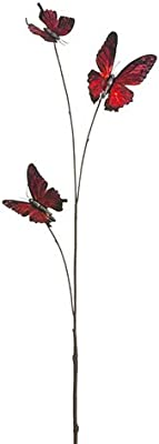 """Arcadia Silk Plantation 26.7"""" Glittered Metallic Butterfly Spray Red (Pack of 24)"""
