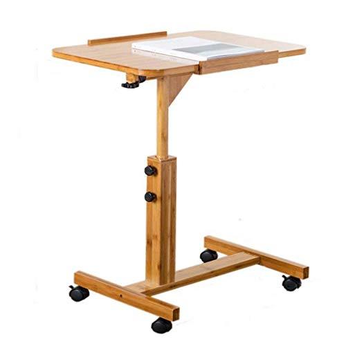 LYN Bijzettafel, hout vierkant computer support bureau sofa tafel in hoogte verstelbaar afneembaar met wiel