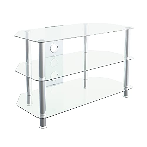 """mahara Clear Glass TV Stand - 80cm - for TVs up to 42"""""""