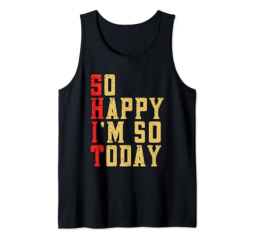 Funny So Happy I'm 50 Hoy Fiesta de Celebración de Cumpleaños Camiseta sin Mangas