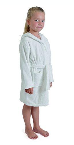 Aumsaa - Albornoz con capucha para niña, 100 % algodón,