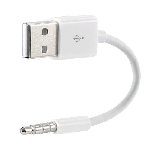 ポータブルショットUSB充電器データSYNCケーブル3.5mmジャックアダプター充電用コードラインApple iPod MP3プレーヤー(ホワイト)