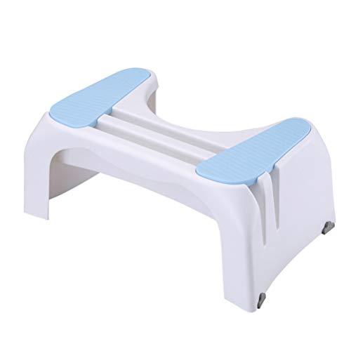 Wc-kruk, trapkruk voor kinderen en volwassenen, antislip badkamermeubel | Mobiele kruk met mobiele kaartsleuf, voor zwangere vrouwen/ouderen,Blue