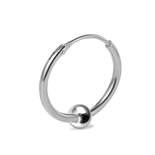 Unisex Ohrring Creolen 925 Sterling Silber mit Kugel (15.0 mm)