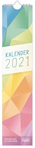 Streifenkalender 2021 [Rainbow] 42 x 9 cm | praktischer Wandkalender, Wandplaner für Flur oder Küche zum Eintragen von Terminen, Geburtstagen | nachhaltig & klimaneutral