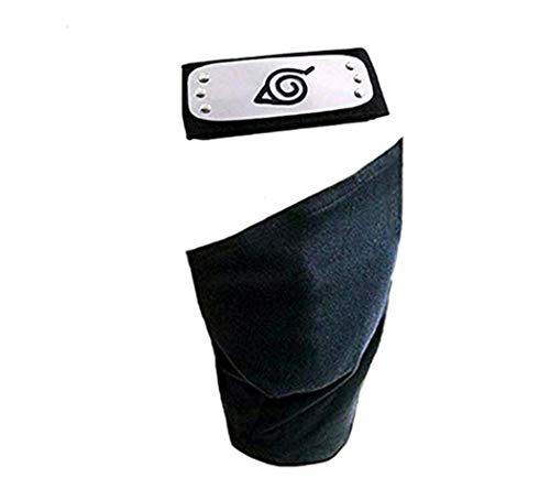 Leaf Village Shinobi Headband and Mask Ninja Kakashi Head Band Toy for Anime Cosplay Accessory (Black)