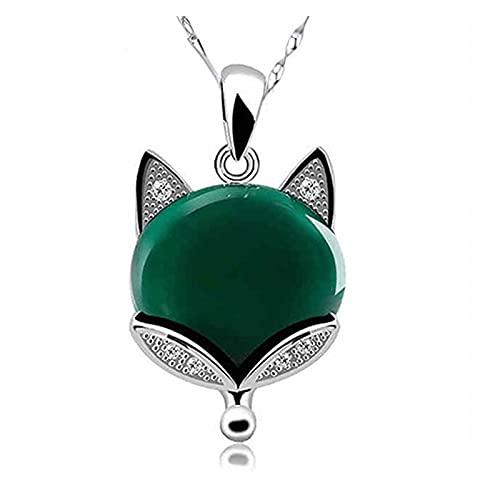 Elegante Collar de Jade Fox de Jade Fox, Elegante, Joyas de Mujer, Mejora el Encanto, lo Que Significa para Siempre Joven y Hermoso (Color : Verde)