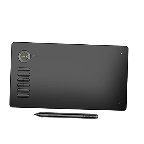 MERIGLARE Área Activa Grande de 10 x 6 Pulgadas, Tableta gráfica de Dibujo con bolígrafo sin batería de 8192 Niveles y 12 Teclas de Acceso rápido para la - Gris