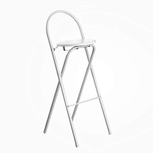 Sillas plegables Taburete Alto Respaldo de casa Minimalista Moderna, para balcon/Bar,White