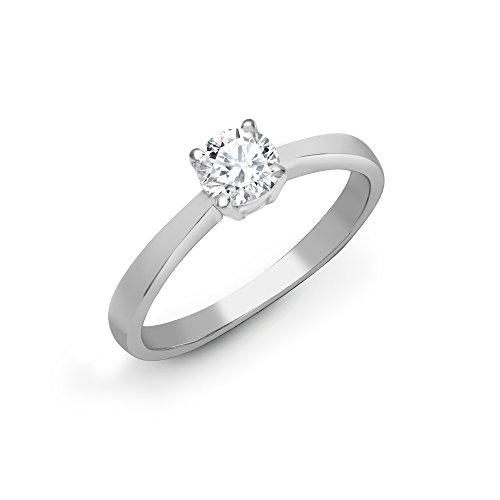Jewelco Europa Anillo de compromiso con solitario de diamante redondo G SI1 de 2 ct con juego de 4 garras de platino sólido