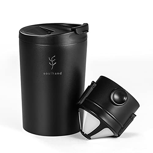 Soulhand Pour Over Coffee Mug, Reusable Coffee Cup, 304 Stainless Steel Thermal Travel Mug, with Pour Over Filter and Seal Lid, Black,10.5oz/300ML
