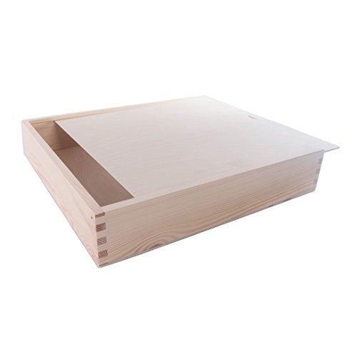 SEARCHBOX Gran Caja de Madera con Tapa Deslizante/Almacenamiento/Madera/Madera de Pino Natural 33x 33x 6cm