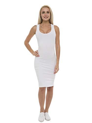 ABAKUHAUS Damen Ärmellos Racerback Midi Basic Kleid, XXL, Weiß